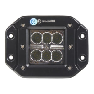 LED svetlo 10-30V, 6x3W, R10, rozptýlený lúč, 122x91x68mm