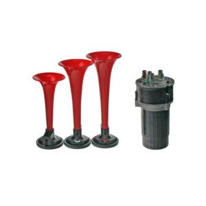 3-tónová fanfára 220mm, 12V červená s kompresorom ECE R28