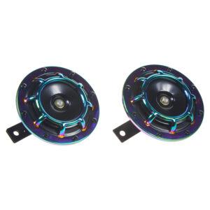 Diskový klaksón (vysoký a nízky tón), dúhový, 120mm, 12V