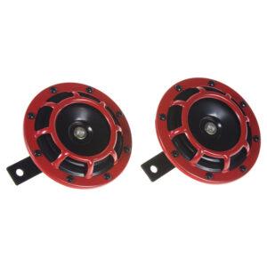 Diskový klaksón (vysoký a nízky tón), červený, 120mm, 12V